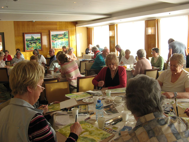 Painting class on board ship, run by Peter Woolley