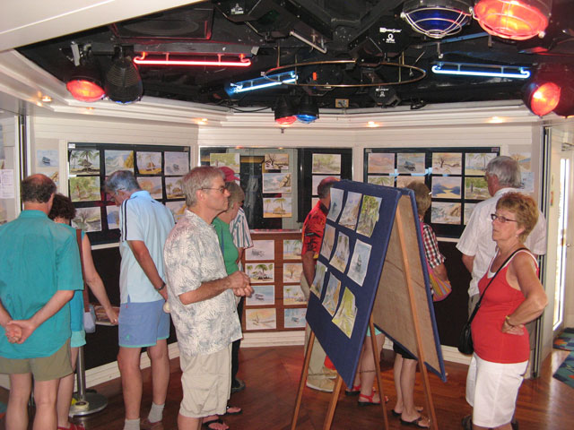 End of Cruise Exhibition - Painting classes on board ship, run by Peter Woolley
