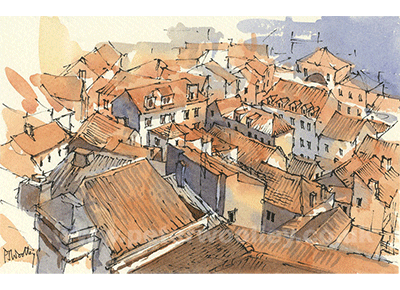 The Rooftops of Lisbon - Line and Wash Sketch