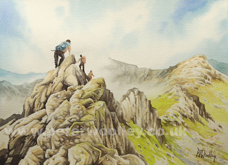 Traversing the Ridge - Watercolour painting of Crib Gogh by Peter Woolley